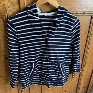 J.Crew navy/white striped cotton hoodie